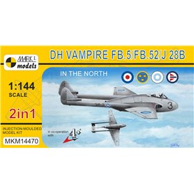 "Mark I MKM14470 Flygplan de Havilland Vampire FB.5/FB.52/J 28B ""In the North"" (2in1, 2 kits in 1 box)"