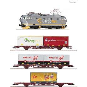 """Roco 61487 Tågset 4-delat EL 16 med 3 godsvagnar """"CargoNet"""" med ljuddekoder"""