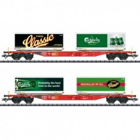 Trix 24509 Carlsberg and Tuborg Container Transport Car Set