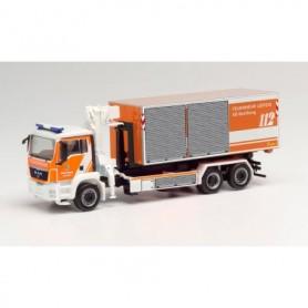 Herpa 095761 MAN TGS M swap truck with crane 'Feuerwehr Leipzig | AB Belüftung'