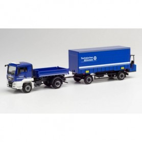 Herpa 312783 MAN TGS L Euro 6 tipper truck with curtain trailer and transportable forklift 'THW'