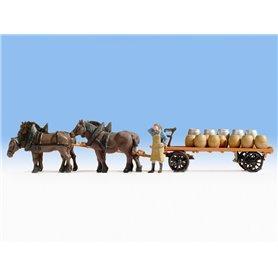 Noch 37701 Häst och vagn med last av öltunnor, 1 st