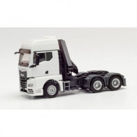 Herpa 313100 MAN TGX GX 6x4 tractor with crane and extendable supports, white