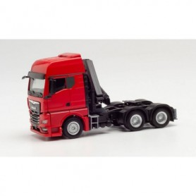 Herpa 313117 MAN TGX GX 6x4 tractor with crane and extendable supports, red