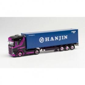 "Herpa 313155 Scania CS 20 HD 40 ft. HC containert truck trailer ""Hart|Hanjin"" (Niederlande|Burgh-Haamstede)"