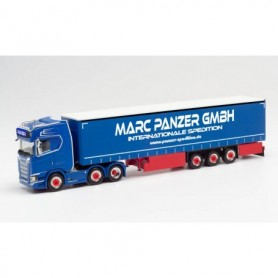 "Herpa 313247 Scania CS 20 HD 6x2 curtain canvas semitrailer ""Marc Panzer Transporte' (Nordrhein-Westfalen|Ratingen)"