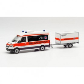 "Herpa 096096 MAN TGE bus high roof with trailer 'BRK water rescue Amberg|Sulzbach"" (Bayern