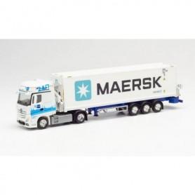 "Herpa 313384 Mercedes-Benz Actros Gigaspace Hammar container sideloader trailer ""GDH | Maersk"" (Hamburg)"