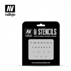 Vallejo ST-AFV003 Stencil AFV Markings Soviet Numbers WWII