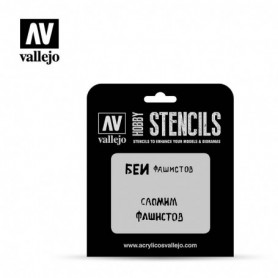 Vallejo ST-AFV004 Stencil AFV Markings Soviet Slogans WWII No. 1
