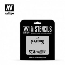 Vallejo ST-AFV005 Stencil AFV Markings Soviet Slogans WWII No. 2