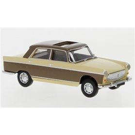 Brekina 29025 Peugeot 404, beige/ljusbrun, 1961, öppen taklucka