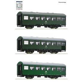 "Roco 74071 3 piece set: Passenger coaches ""Rekowagen"", DR (Set 2)"