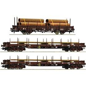 "Roco 76053 Vagnsset med 3 stolpvagnar ÖBB ""Steel Train"""