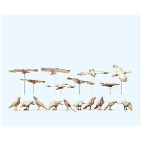 Preiser 63335 Fåglar, omålade byggsats