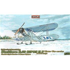 Kora Models 72128 Flygplan Blackburn R.29 Ripon II F on skis Winter War Service Decals Finland