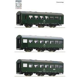 "Roco 74070 3 piece set: Passenger coaches ""Rekowagen"", DR (Set 1)"