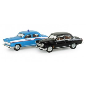"Herpa 065412 Cars set Wolga ""Taxi / Police"""