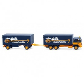 Wiking 45703 Box trailer road train (Scania 111) 'ASG'