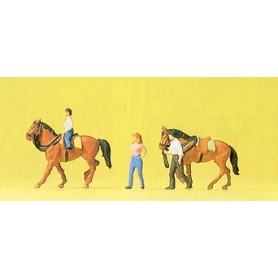 Preiser 79183 Ryttare med 2 st hästar