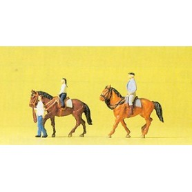 Preiser 79184 Ryttare med 2 st hästar