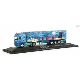 "Herpa 120975 DAF XF SSC box semitrailer ""sunline"", PC"