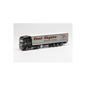"""Herpa 313872 DAF XF SSC Euro 6 curtain canvas semitrailer with drop sides """"Ruud Hagens"""""""