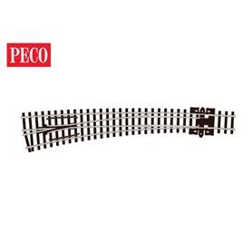 Peco SL-E387 Kurvväxel, vänster, radie 914 mm/457 mm, vinkel 10° längd 159,5 mm