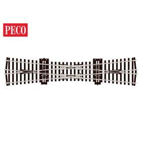 Peco SL-90 Korsningsväxel, dubbel, radie 610 mm, vinkel 12°, längd 249 mm