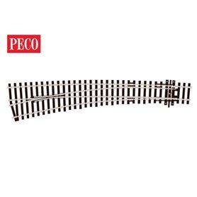 Peco SL-E87 Kurvväxel, vänster, radie 1524/762 mm, längd 159,5 mm