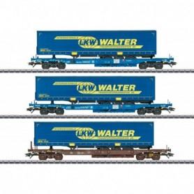 Märklin 47120 LKW Walter Deep Well Flat Car Set