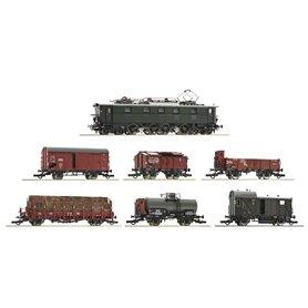 Roco 61492 7 piece set: Electric locomotive E 52 22 with goods train, DRG