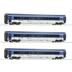 """Roco 74067 Vagnsset med 3 personvagnar """"Railjet"""" CD"""