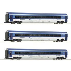 """Roco 74068 Vagnsset med 3 personvagnar """"Railjet"""" CD"""
