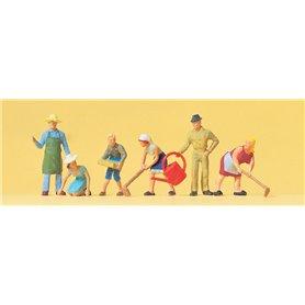 Preiser 14081 Trädgårdsarbetare, 6 st