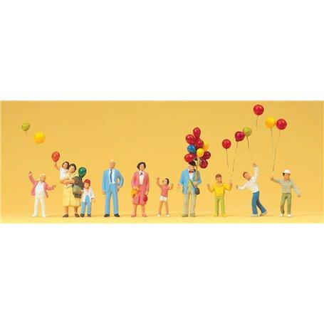 Preiser 24659 Ballongförsäljare med ballonger och barn