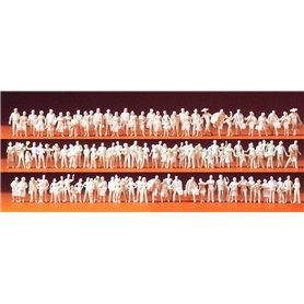 Preiser 79008 Omålade figurer, resande och passagerare, 120 st