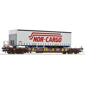 """Roco 76222 Flakvagn med last av trailer Sdgmns 33 """"Nor-Cargo"""""""