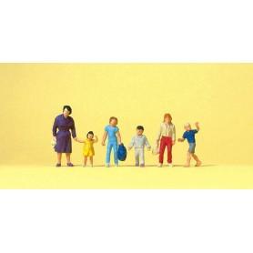 Preiser 14041 Gående kvinnor och barn, 6 st
