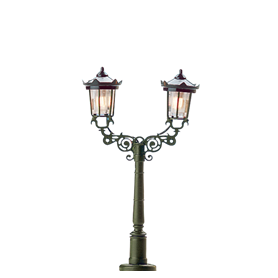 "Brawa 4534 Parklampa, dubbelarm, ""Baden-Baden"", 1 st, höjd 50 mm"