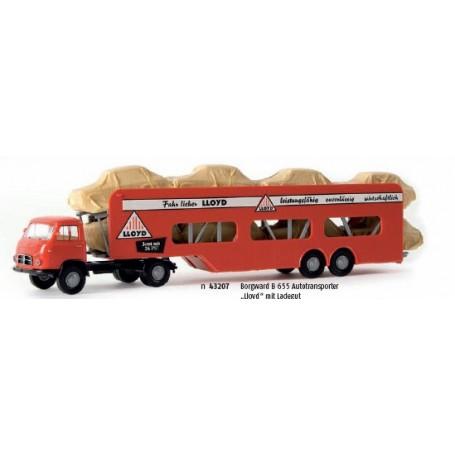 """Brekina 43207 Biltransport Borgward B 655 """"Lloyd"""" med övertäckt last"""