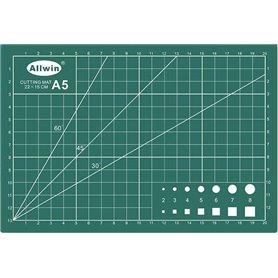 """Allwin A5 Skärmatta A5, mått 22x 15 cm, 3 mm tjock, grön, """"self healing"""", 3 lager"""