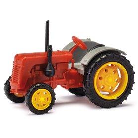 Busch 211006811 Traktor Famulus, röd/grå med gula fälgar