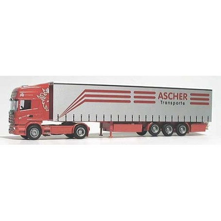"Herpa 3525 Scania 144 TL Bil & Gardintrailer ""Ascher Transport"""