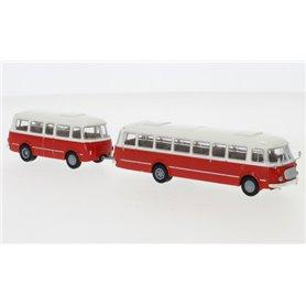 """Brekina 58263 Buss JZS Jelcz 043 med P-01 släp, vit/röd, 1964 """"Starline"""""""