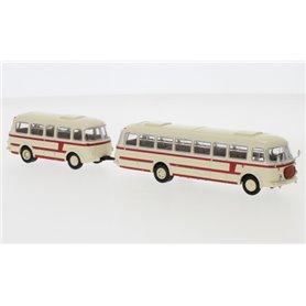 """Brekina 58264 Buss JZS Jelcz 043 med P-01 släp, ljusbeige/röd, 1964 """"Starline"""""""