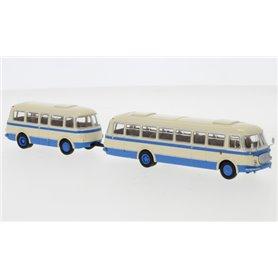"""Brekina 58265 Buss JZS Jelcz 043 med P-01 släp, hellbeige/blå, 1964 """"Starline"""""""