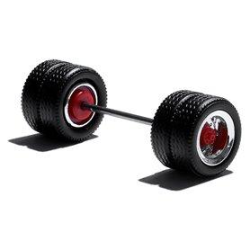 Herpa Exclusive 690102I Däck/hjulaxel, drivaxel för Lowliner, 1 st, krom/röd