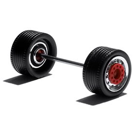 Herpa Exclusive 690102J Däck/hjulaxel, drivaxel för Lowliner, 1 st, krom/röd