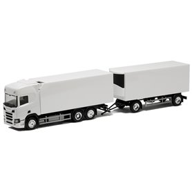 Herpa Exclusive BM942850 Bil & Trailer Scania CR HD, kyltrailers, omärkt, vit med svart chassi